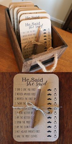 Bridal Shower Game Station – Love this idea! To get the look, you will need kraf… Bridal Shower Game Station – Love this idea! To get the look, you will need kraft cardstock, some pretty twine, and the pencils of… Continue Reading → Bridal Shower Question Game, Bridal Shower Questions, Fun Bridal Shower Games, Bridal Games, Bridal Shower Cards, Bridal Shower Fall, Bridal Shower Prizes, Ideas For Bridal Shower, Cheap Bridal Shower Favors