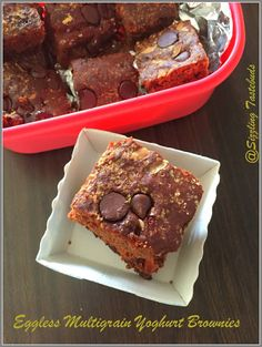 Eggless Multigrain Choco chip Brownies - a healthy indulgence