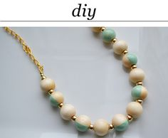 """DIY painted wooden bead necklace  """"rosewood dot necklace"""""""