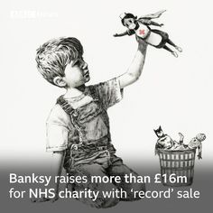 """BBC News on Instagram: """"A Banksy painting depicting a young boy playing with a superhero nurse doll has raised more than £16m for an NHS charity after being sold…"""" Banksy Graffiti, Street Art Banksy, Bansky, Batman, Spiderman, Banksy Paintings, Banksy Artwork, Banksy Posters, Southampton"""