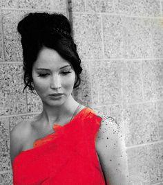 #katniss Jennifer Lawrence as Katniss Everdeen in selective color  Hunger Games
