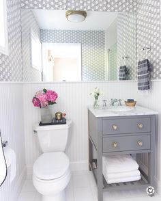Ideas And Inspiration For Remodeling A Small Bathroom: Gray Vanity With  Marble Top And Delta Cassidy Chrome Faucet. The Sink