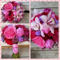 Bridal bouquet of roses, orchids and peonies.