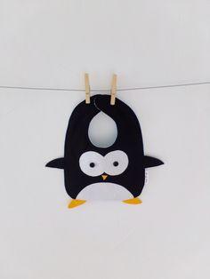 Penguin Baby bib, Handmade, 100% cotton, Girl, Boy, Newborn gift, Dribble bib, Accessories, Infant, Animal, Funny, Baby shower, Cute by TootsAndMe on Etsy https://www.etsy.com/listing/186508448/penguin-baby-bib-handmade-100-cotton