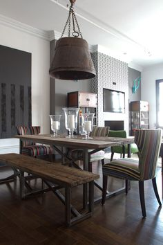 Daniel's Eclectic Industrial Loft House Tour - This table for the dinning room Industrial Living, Industrial House, Industrial Chic, Industrial Apartment, Industrial Design, Industrial Furniture, White Industrial, Kitchen Industrial, Sweet Home
