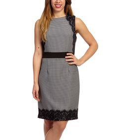 Look at this Black Stripe Lace-Patch Sleeveless Dress - Women & Plus on #zulily today!