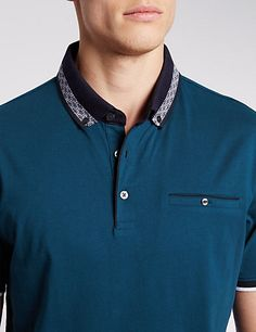 Buy the Pure Cotton Tailored Fit Polo Shirt from Marks and Spencer's range. Polo Fashion, New Fashion, Polo Design, Tailored Suits, Polo T Shirts, Western Outfits, Shirt Designs, Menswear, Robert Wood