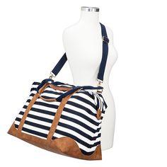 b595cc212e3e 3977.8 34.99(Free Ship) Target Women s Striped Weekender Handbag - Navy   amp  White