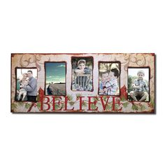 """Decorative Painted Pine """"Believe"""" Wall Hanging Picture Photo Frame"""