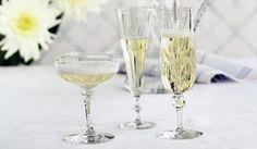 Three different kind of champagne glasses. Champagne Glasses, Tableware, Design, Vintage, Dinnerware, Sparkling Wine Glasses, Tablewares, Vintage Comics
