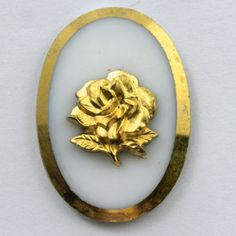 18mm x 25mm Gold Rose White Cabochon 360 by GeneralBead on Etsy, $5.00
