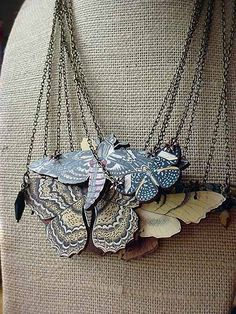 SPRING SALE Moth Necklace Butterfly Pendant Autumn Wedding Neutral Warm Fall Colors Gift for Her. $19.20, via Etsy.
