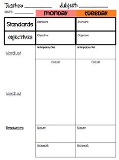 Lesson Plan Templates Multiple Editable Pdf Versions Plans