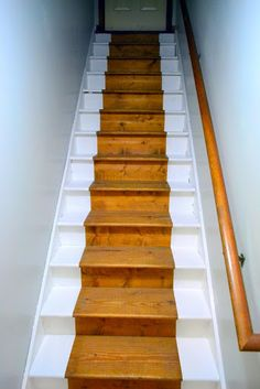 painted staircase bare wood runner, painting, stairs, bare wood runnner after Diy Stair Railing, Basement Staircase, Wood Stairs, House Stairs, Staircase Design, Stair Idea, Basement Steps, Stair Design, Staircase Remodel