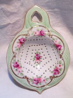 Vintage Porcelain Tea Strainer, Mint Green and White with Floral Pattern and Beading
