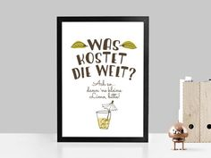 """Kunstdruck mit Typo """"Was kostet die Welt"""" / typo artprint, fun words by Prints Eisenherz via DaWanda.com"""