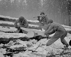 Soldiers cut wood after the first snowfall in the Hurgen Forest