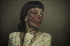 art, fine art, photography, conceptual, surreal, woman, girl, red, blood, blooded, social rituals, gown, ehp, elle hanley photography, ellehanley.com, face, portrait, self,
