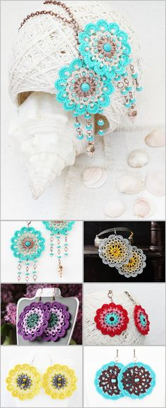 Crochet earrings Hippie Gypsy Boho Bohemian Summer fashion Big bold statement round flower