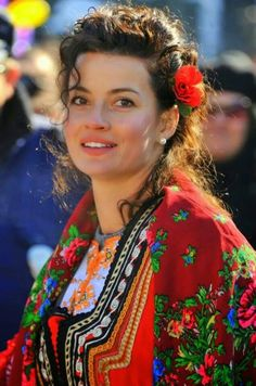 A beautiful woman in the  traditional dress of Bulgaria.
