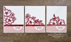 Assemble the die-cut Layered Blossoms, then cut into three parts for building three beautiful cards. Access more photos, measurements, directions, a downloadable PDF, and a supply list by clicking here. Stampin' Up!® - Stamp Your Art Out! www.stampyourartout.com #stampyourartout #stampinup Flower Stamp, Flower Cards, July Birthday, Birthday Cards, Purple Cards, Blossom Flower, Paper Pumpkin, Autumn Theme, Sympathy Cards