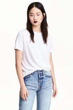 Cotton-blend T-shirt - White - Ladies   H&M CA 1