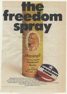 """The Freedom Spray."" Massengill 1970. #vintageads #Ads #vintage #PrintAd #tvads #advertising #BrandScience #influence #online #Facebook #submissions #marketing #advertising"