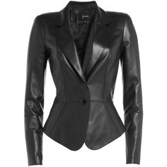 Jitrois Fitted Leather Blazer ($4,250) ❤ liked on Polyvore featuring outerwear, jackets, blazers, black, slim fit jacket, leather blazer, slim fit leather jacket, fitted leather jacket and black jacket