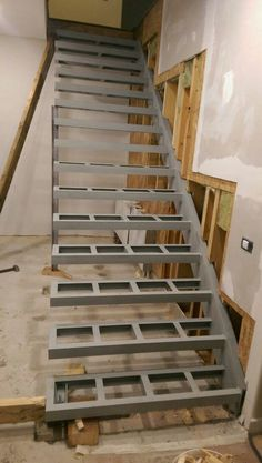 floating stairs suspended staircase construction floating stair structural details parts brackets cost exterior how to build stairs howtos diy cantilevered Stairway Railing Ideas, Staircase Railings, Stairways, Stair Idea, Staircase Remodel, Stair Treads, Railing Design, Staircase Design, Steel Stairs Design