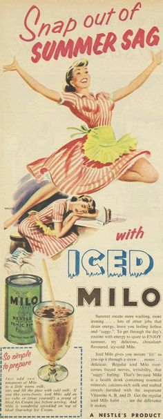 """Snap out of summer sag, 1957 nestle iced milo powdered drink ad ~ """"snap out of summer sag!"""