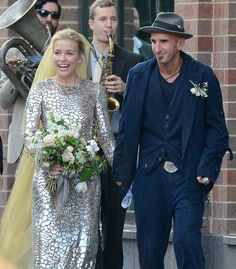 Pin for Later: Which Celebrity Couple Had the Ultimate Summer Wedding? Piper Perabo and Stephen Kay With a unique dress and a brass band, the Covert Affairs actress had a wedding like nothing else we'd seen this Summer.