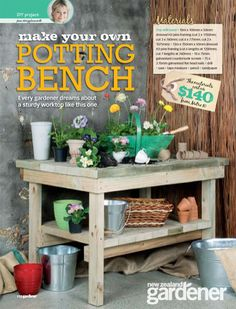 If you're tired of starting seeds on the kitchen counter, use these free, DIY potting bench plans to build your own outdoor potting station! Potting Bench Plans, Potting Tables, Potting Sheds, Garden Projects, Diy Projects, Garden Ideas, Pallet Projects, Diy Bench, Build Your Own
