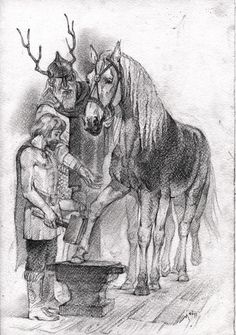 Sleipnir in smithy by Unita-N Looks a little small to be ridden so this might have been one of his first visits to the blacksmith.Odin is telling him to just do hoof trims!!