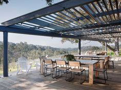 Polperro winery outdoor space overlooking the vineyards, showing Eco Outdoor Turon dining chairs and the Bronte outdoor dining table. Eco Outdoor   livelifeoutdoors  Outdoor furniture   Patio furniture   Outdoor dining   Teak outdoor   Outdoor design   Outdoor style   Outdoor luxury   Designer outdoor furniture   Outdoor design inspiration   Outdoor design ideas   Outdoor Styling