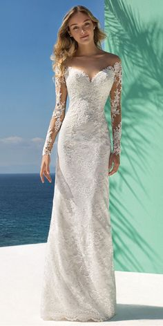 Glamorous Lace & Tulle Jewel Neckline Mermaid Wedding Dress With Lace Appliques & Beadings #weddingdress