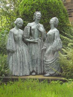 The Brontë sisters in the garden of their home