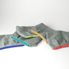 """Linen 6"""" Zippered Pouch – Knit Purl.  Good use for fabric scraps, like varying color of zippers."""
