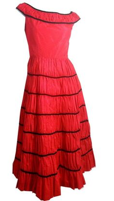 Cherry Red Taffeta and Black Velvet Party Dress circa 1950s - Dorothea's Closet Vintage