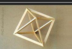 Octahedron open frame wood model