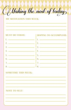Making the most of today. Printable to-do list
