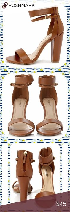"""BAMBOO Chestnut Brown Double Strap Sandal Heels Brand New in Box! Chestnut Brown Vegan Leather Double Strap Heels with open toe. These sandals have a wide elasticized band across the ankle and a thinner buckled strap below. Zips down in the back. 4"""" block heel and skid-resistant rubber outsole. Only 4 Pairs Available- all Size 7.5 M. Cute shoes! Bamboo Shoes Sandals"""