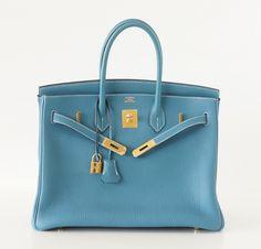 HERMES BIRKIN 35 bag BLUE JEAN togo Gold hardware