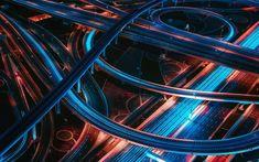 Download wallpapers road junction, night, city lights, freeway, metropolis, roads