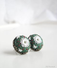 Forest Green Earrings. Beautiful White Flowers Embroidery. Handmade of Polymer Clay. Deep Green, Dark Green, White, Red.