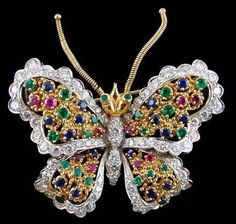 Two Tone Diamond and Gem Set Butterfly Brooch