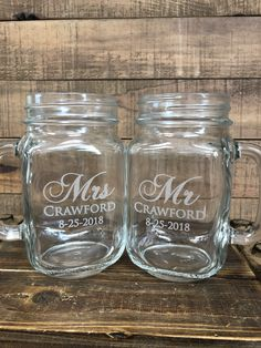Shabby Chic Mason Jars Perfect for the Bride and Groom! Ultimate Wedding Gifts, Unique Wedding Gifts, Gifts For Wedding Party, Personalized Wedding Gifts, Unique Weddings, Engraved Gifts, Summer Wedding, Wedding Favors, Dream Wedding