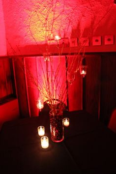 Chicago Wedding Decor Branch Centerpieces with hanging candles Branch Centerpieces, Wedding Centerpieces, Wedding Decorations, Wedding Stuff, Wedding Ideas, Hanging Candles, Event Lighting, Chicago Wedding, Mason Jar Lamp