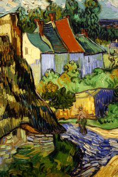 Vincent van Gogh - Houses at Auvers 1890 ۩۞۩۞۩۞۩۞۩۞۩۞۩۞۩۞۩ Gaby Féerie créateur de bijoux à thèmes en modèle unique ; sa.boutique.➜ http://www.alittlemarket.com/boutique/gaby_feerie-132444.html ۩۞۩۞۩۞۩۞۩۞۩۞۩۞۩۞۩