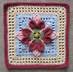 "12"" Fuschia Afghan Block  by Abigail Bailey"