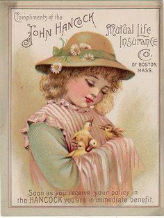 John Hancock Insurance Advertising trade card, c. Vintage Abbildungen, Vintage Labels, Vintage Ephemera, Vintage Paper, Vintage Prints, Vintage Pictures, Vintage Images, Decoupage, Old Advertisements